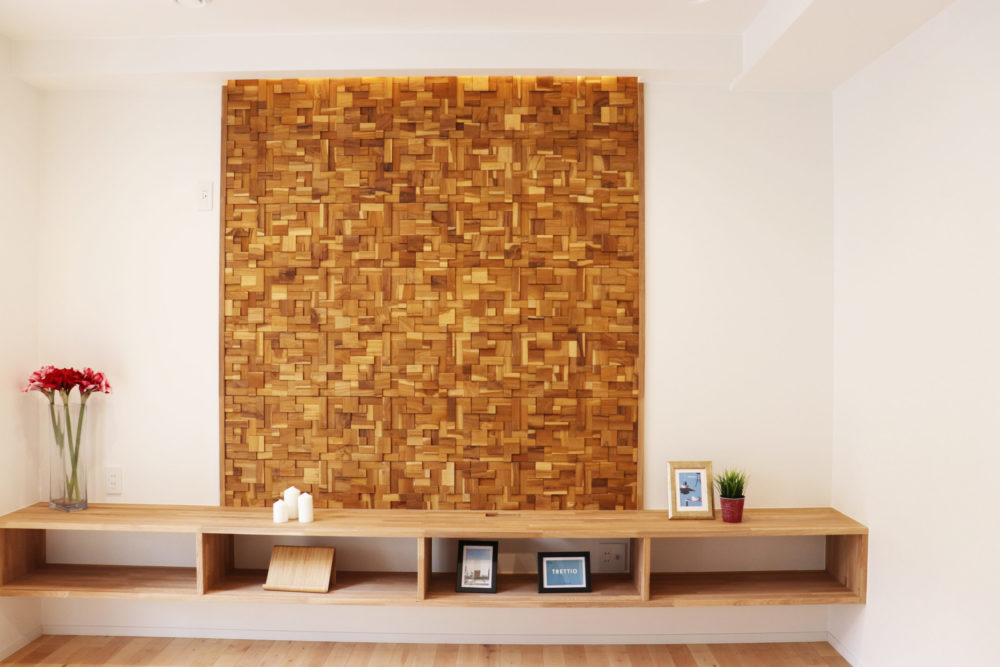 組木の壁面